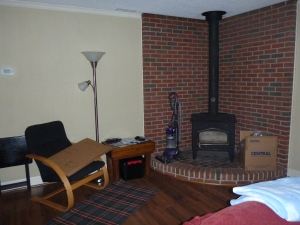 Living Room Pic 2. I am SO excited to try out the wood stove next fall!